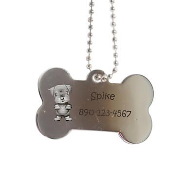 Personalisierte Geschenke Knochen-Form-Silber Pet-ID-Namensschild mit Kette für Hunde
