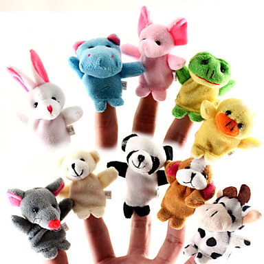 For Bedtime Stories Animal Finger Puppets Puppets Cute Lovely Cartoon Textile Silicone Plush Girls' Toy Gift 10/12 pcs