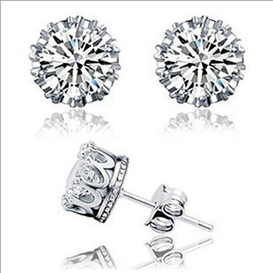 Sitne naušnice Zircon Kubični Zirconia Kamen Umjetno drago kamenje Glina Platinum Plated Crown Shape Jewelry Za Dnevno Kauzalni 1 par