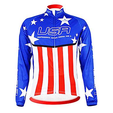 Kooplus Jachetă Cycling Bărbați Manșon Lung Bicicletă Jerseu Topuri Iarnă Fleece Îmbrăcăminte Ciclism Keep Warm Căptușeală Din Lână
