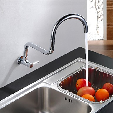 Kitchen faucet - Contemporary Chrome Pot Filler Wall Mounted / Brass / Single Handle One Hole