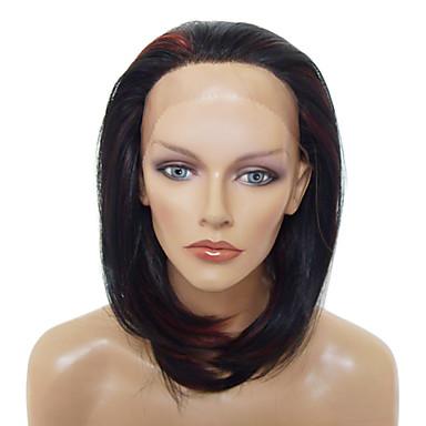 Lace Front Stylish Medium-length Heat-resistant Synthetic Wigs(Mixed Color)