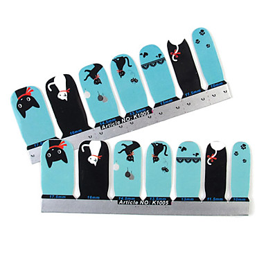 28PCS Full-tip lille kat Nail Art Stickers Decals