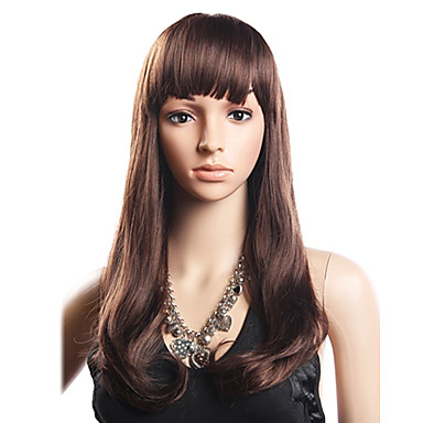 20% Human Hair 80% Syntetisk Varmeresistent Fiber hår fuld Bang Bølget Lang Paryk