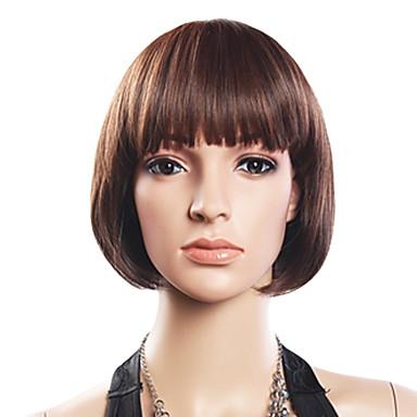 20% Human Hair 80% Synthetic Heat-resistant Fiber Hair Full Bang Straight Short Wig