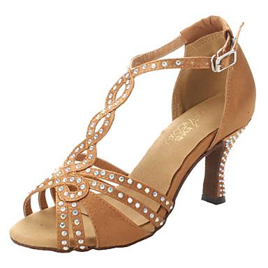 Pentru femei Pantofi Dans Latin / Sală Dans / Pantofi Salsa Satin Sandale / Călcâi Piatră Semiprețioasă Toc Îndesat NePersonalizabili Pantofi de dans Bronz