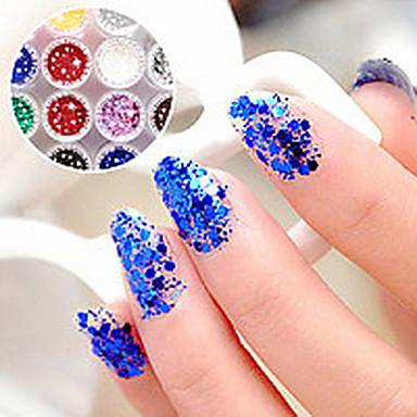 1KS šestihranné Glitter Tablety Nail Art Dekorace č.19-24 (různé barvy)
