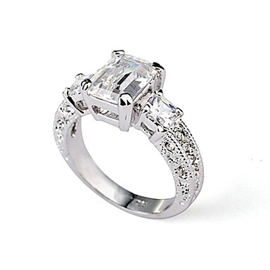 Women's Crystal Statement Ring - Gold Plated, Imitation Diamond 6 / 7 / 8 Silver For Wedding / Party / Casual