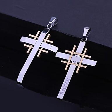 Personlig gave Stainless Steel Cross graveres vedhæng Halskæde Mænds Smykker (Inden for 10 tegn)