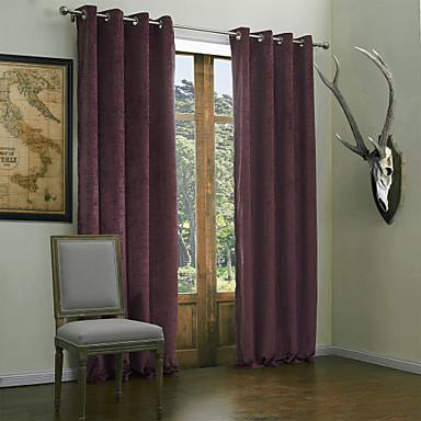 Moderní dva panely pevné obývací pokoj fialové závěsy závěsy