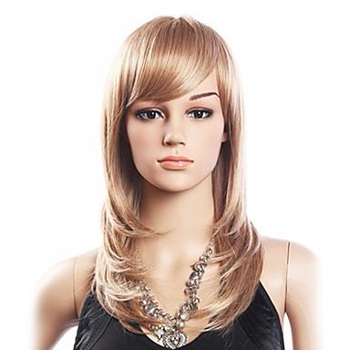 De înaltă calitate, 20% păr uman si 80% rezistent la caldura fibra de par Capless Mediu Curly Peruca (Platinum Blonde)