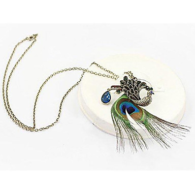 Canlyn Women's Fashion Peacock Feathers With Diamond Necklace