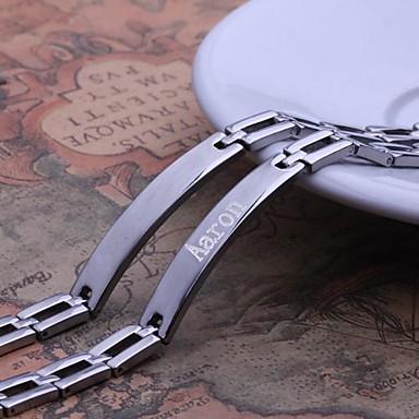 Personlig gave Simple Design Sølv Mænds Smykker Rustfrit stål med gravering ID Armbånd 0.8cm Bredde