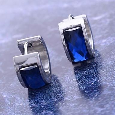 Damen Synthetischer Diamant Kreolen - Edelstahl, Titanstahl, Diamantimitate Blau Für Weihnachts Geschenke Alltag