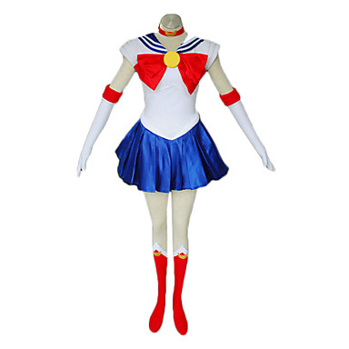 Inspired by Sailor Moon Sailor Moon Anime Cosplay Costumes Cosplay Suits / Dresses Patchwork Sleeveless Dress / Gloves / Stockings For Women's / Satin