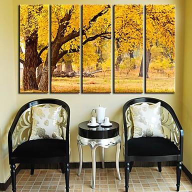 Imprimeu pânză întins Set Canava Peisaj Cinci Panouri Vertical Imprimeu Decor de perete Pagina de decorare