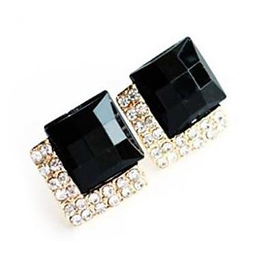 Cercei Stud Piatră Preţioasă Negru natural Sapphire sintetic Lux Modă European Pietre sintetice Diamante Artificiale Aliaj Bijuterii