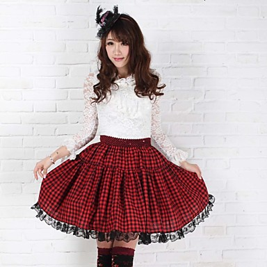Skirt Punk Lolita Elegant Cosplay Lolita Dress Red Print Lolita Medium Length Skirt For Women Polyester