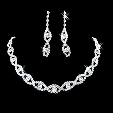 Damen Synthetischer Diamant / Strass Strass / versilbert Schmuck-Set Ohrringe / Halsketten - Brautkleidung / Elegant Schmuck Silber