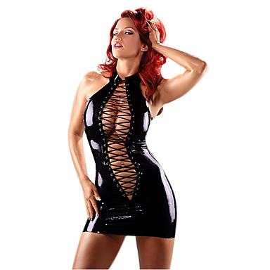 Hot Girl Deep V Black PU Leather Women's SM Style Sexy Uniform