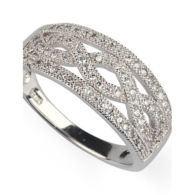 Women's Statement Ring White Silver Plated Party Daily Casual Costume Jewelry