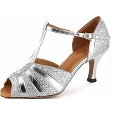 baratos Sapatos de Salsa-Mulheres Glitter Sapatos de Dança Latina / Sapatos de Salsa Sandália Salto Personalizado Personalizável Prateado / Azul / Dourado / Camurça / EU43