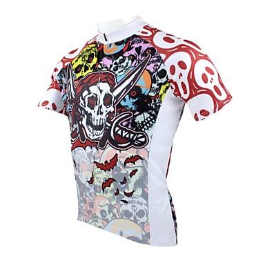 ILPALADINO Heren Korte mouw Wielrenshirt Doodskoppen Fietsen Shirt, Sneldrogend, Ultra-Violetbestendig, Ademend