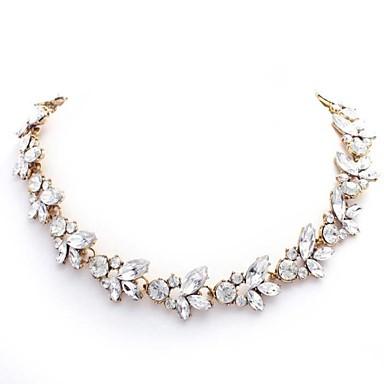 Dame Kædehalskæde Ædelsten Rhinsten Imitation Diamond Legering luksus smykker Hvid Smykker For Bryllup Fest Daglig Afslappet