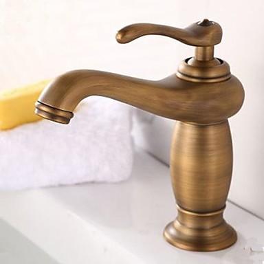 Antik Centerset Roterbar Keramisk Ventil Ett hål Singel Handtag Ett hål Antik mässing, Badrum Tvättställ Kran