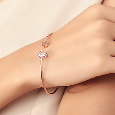 Damen Strass vergoldet Herz Armreife Manschetten-Armbänder - Grundlegend Liebe Modisch Silber Golden Armbänder Für Hochzeit Party