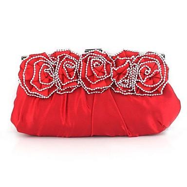 Damen Taschen Seide Abendtasche Crystal / Strass / Blume für Hochzeit Schwarz / Silber / Rot