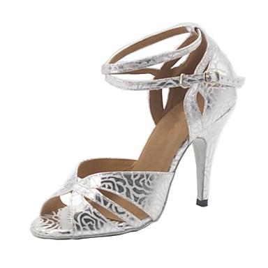 Dame Latin Kunstlæder Hæle Personligt tilpassede hæle Sølv Kan tilpasses
