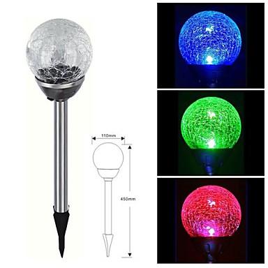 1-LED Stainless Steel Solar farveskiftende Crackle Glass Ball Stake Light Lawn Lampe