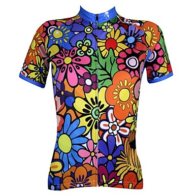 ILPALADINO Women s Short Sleeve Cycling Jersey - Rainbow Floral   Botanical  Plus Size Bike Jersey Top 651879093