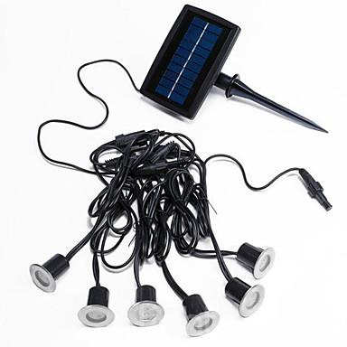 Sæt med 6 hvide LED Solar Decking Lights med 1 Panel i rustfrit stål