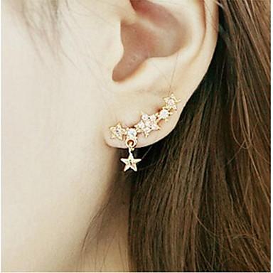 Damen Stern Strass vergoldet Ohrstecker - Golden Ohrringe Für Hochzeit Party Alltag