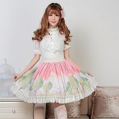 Skjørter Sød Lolita Prinsesse Cosplay Lolita Kjoler Lyserød Trykt mønster Lolita Medium Længde Skjørte For Dame Polyester
