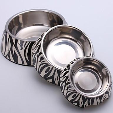 Lille Zebra applikationsfoden Melamin Rund Skål med rustfrit stål Fad til hunde og katte,