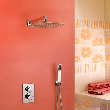Contemporary Wall Mounted Rain Shower Handshower Included Thermostatic Ceramic Valve Three Holes Two Handles Three Holes Chrome, Shower