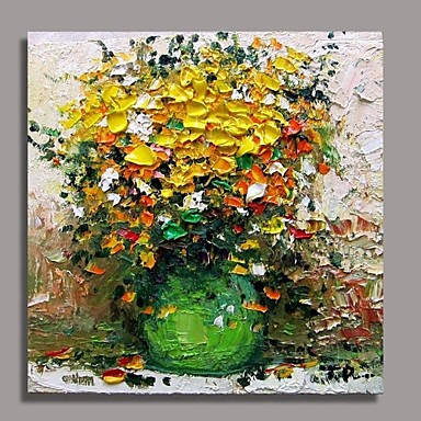 Hand-Painted Floral/Botanical Square Canvas Oil Painting Home Decoration One Panel
