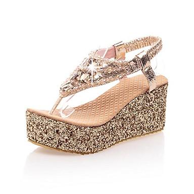 Pentru femei Pantofi Imitație de Piele Primăvară Vară Platformă Toc Platformă Cataramă pentru Casual Argintiu Auriu