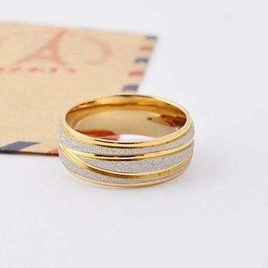 Herre Dame Band Ring Gylden Titanium Stål Guldbelagt Rund Kærlighed Gave Daglig Afslappet Kostume smykker