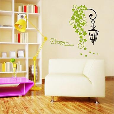 Frunze verzi și model lampă de perete autocolant (1PCS)