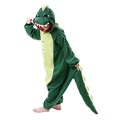 Kigurumi Pajamas Dinosaur Onesie Pajamas Costume Polar Fleece Dark Green Cosplay For Adults' Animal Sleepwear Cartoon Halloween Festival