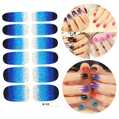 28PCS Glitter Gradient Ramp Nail Art Stickers M Series NO.108