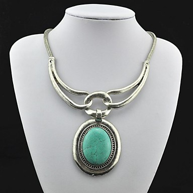 Women's Pendant Necklace Synthetic Gemstones Turquoise Alloy Pendant Necklace , Party Daily