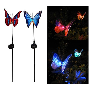 Lumina Grădină Outdoor lampă Set de 2 culori Solar Power fibră optică Butterfly RGB LED-uri