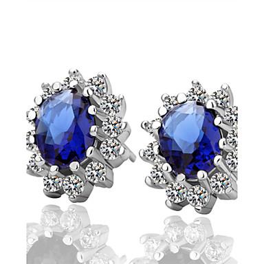Mulheres Sapphire sintético Brincos Curtos - Zircônia Cubica, Prata Chapeada Azul / Luxo