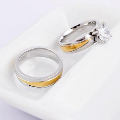 Bărbați Pentru femei Inele Cuplu Auriu/Argintiu Oțel titan Rotund Modă Nuntă Petrecere Zilnic Casual Costum de bijuterii