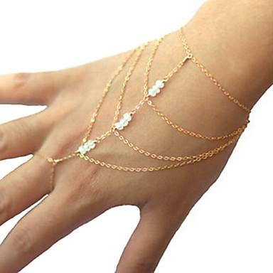 Damen Kristall Künstliche Perle Anderen Bettelarmbänder Ring-Armbänder - Einzigartiges Design Mehrlagig Modisch Gold Armbänder Für